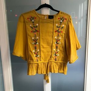 Lightweight embroidered yellow blouse